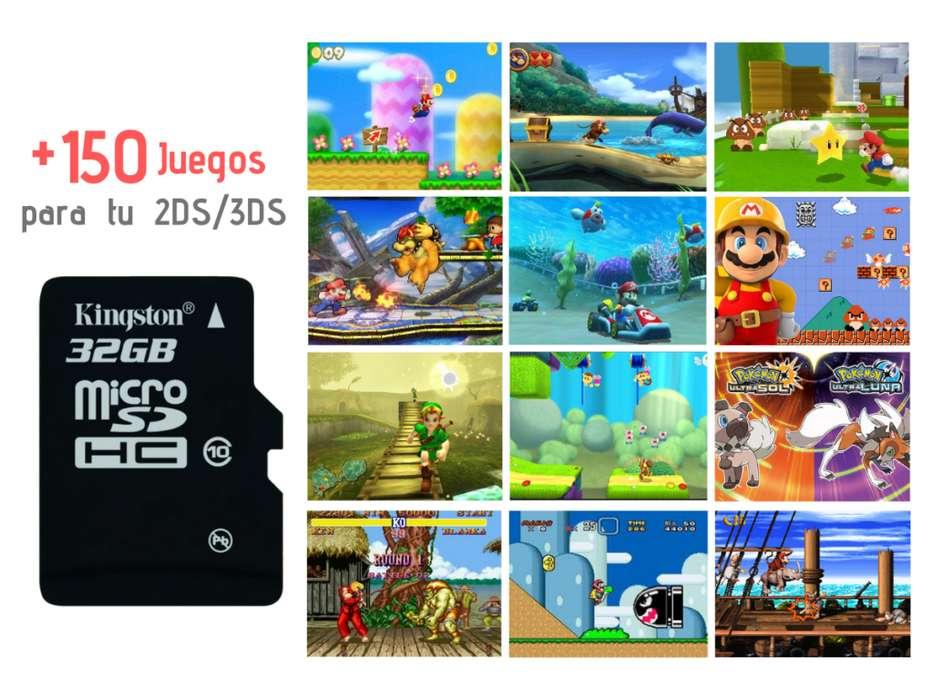 Nintendo 3ds memoria 32gb con mas 150 juegos