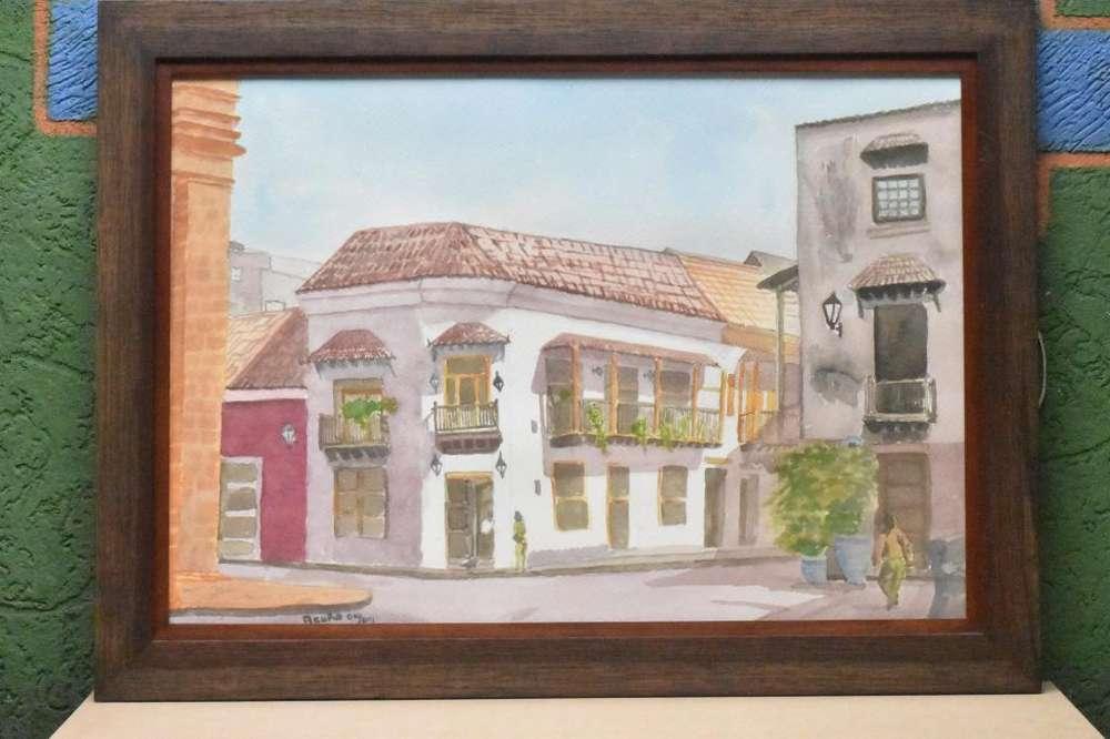 Cuadro Casa Cartagenera Pintado En Acuarela