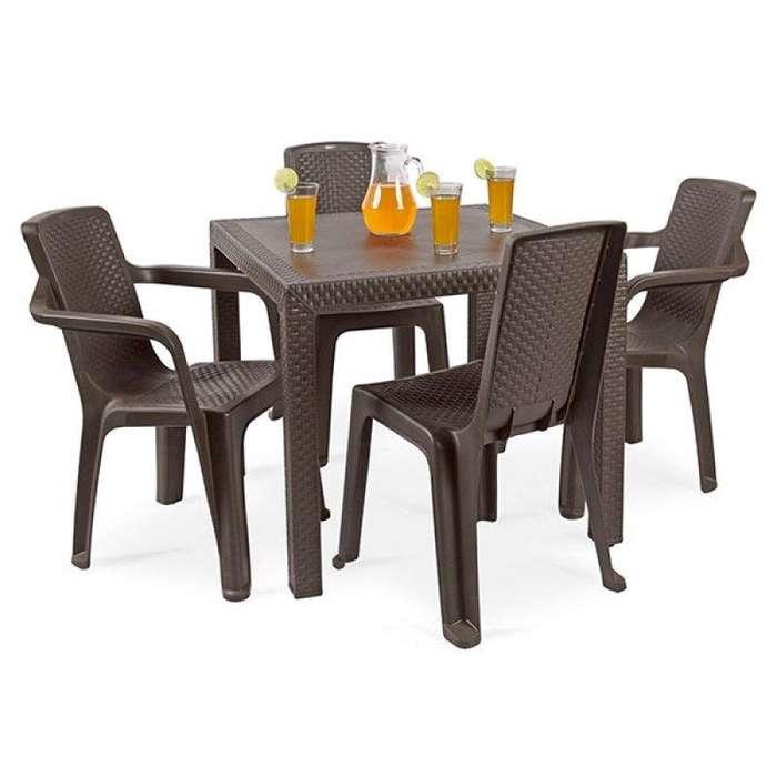 Comedor exterior Rimax 4 sillas Envío gratis diseño elegante hogar