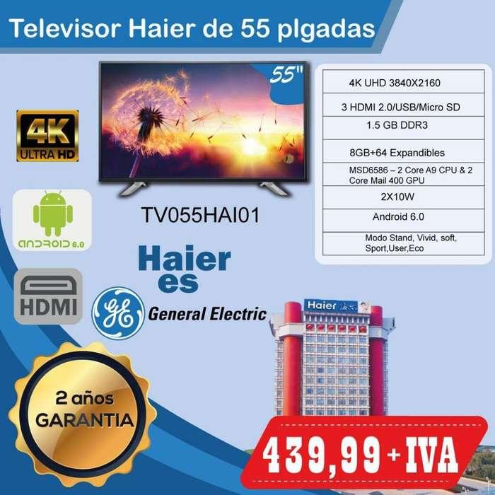 TELEVISION SMART TV 55 PULGADAS HAIER DE GENERAL ELECTRIC GARANTIA 2 AÑOS WIFI LAN 4K SLIM 55 65 75 PULGADAS