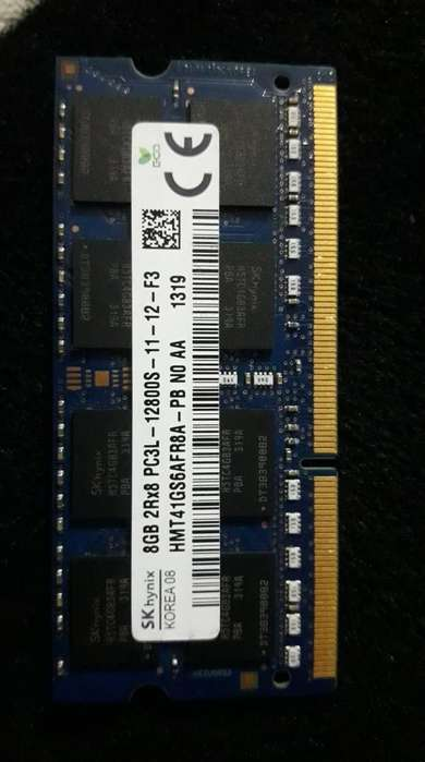Ram de 8 gb PC3 L, para portatil