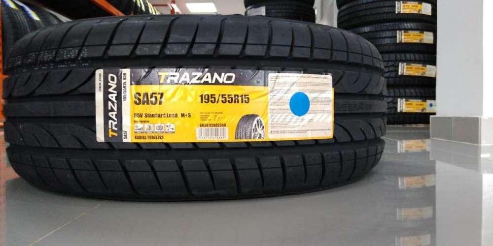 Llanta Referencia 195/55R15 Marca Trazano para Automóvil. Servicios gratis por compra.