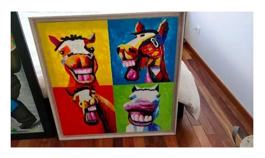 Cuadro Pintura En Oleo Caballos Moderna