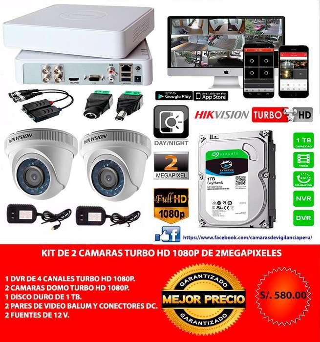 Kit De 2 Cámaras full Hd 1080p De 2 Mp Hikvision