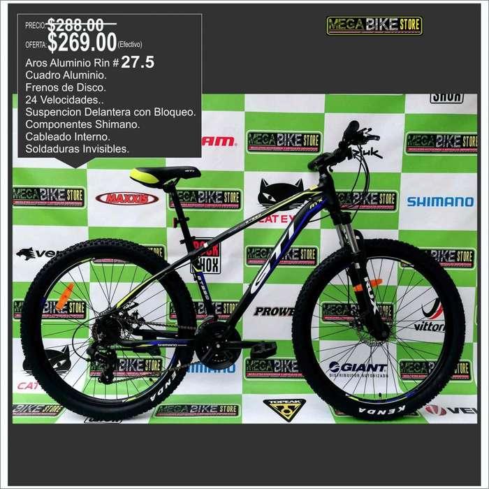 <strong>bicicleta</strong> Rin 27.5 de Aluminio montañera con partes SHIMANO original, garantia , suspencion delantera. disco de freno.