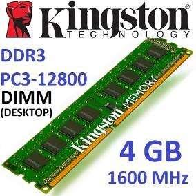 Memoria Ram Ddr3 1600Mhz 4gb KINGSTON ORIGINALES NO CHINOS NO PROTOTIPOS INSTALACION