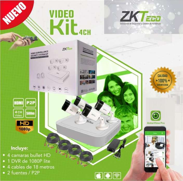 Kit de 4 cámaras en HD ZKTeco