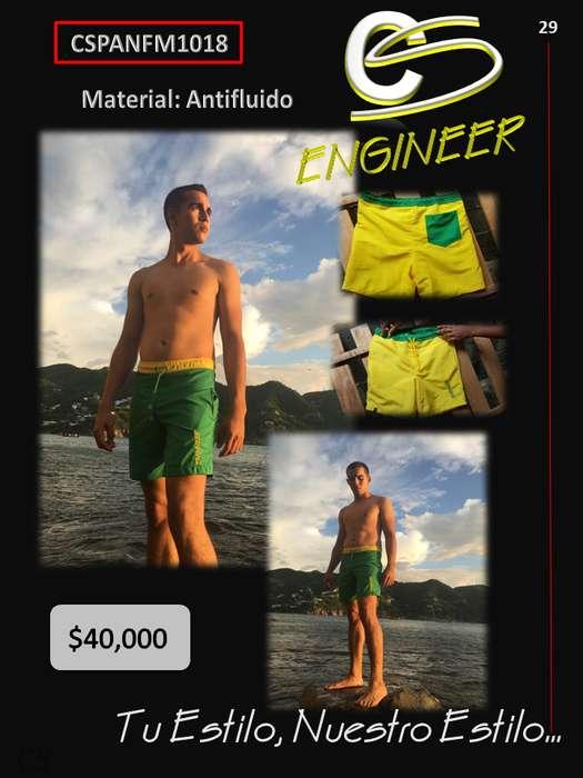 Pantaloneta en Antifluido Color Verde, Amarillo
