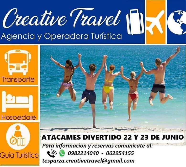 ATACAMES DIVERTIDO 22 Y 23 DE JUNIO 2019. POR 90 USD