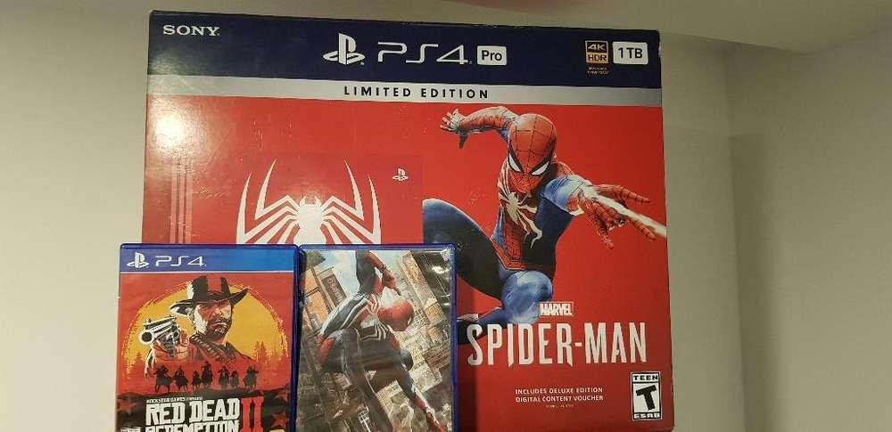 Ps4 Pro 1tb Edicion Spiderman 2 Juegos