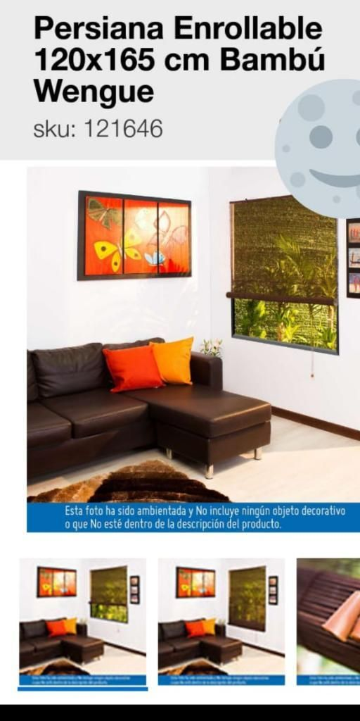 Persiana Enrrollable 120x165 Bambu Wengu