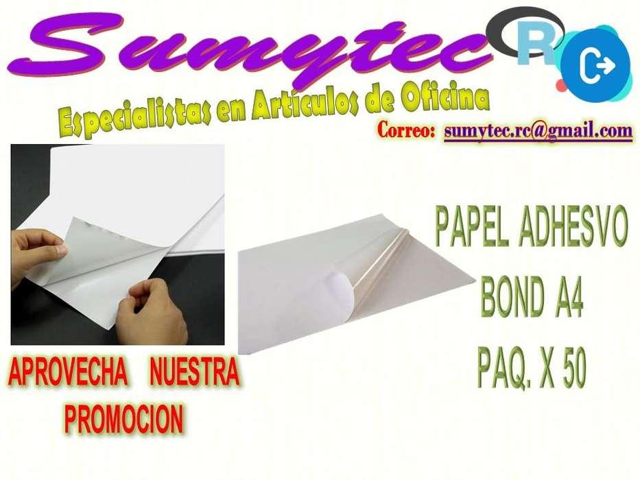 Papel Bond A4 Adhesivo Paqx50