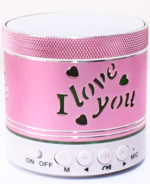Mini Parlante Portatil Bluetooh Rosa C/luz I Love You
