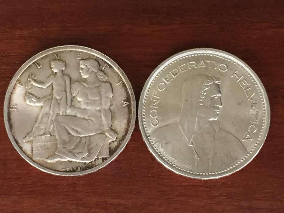 Dos monedas de 5 Francos Suizos 1948 y 1966 B.