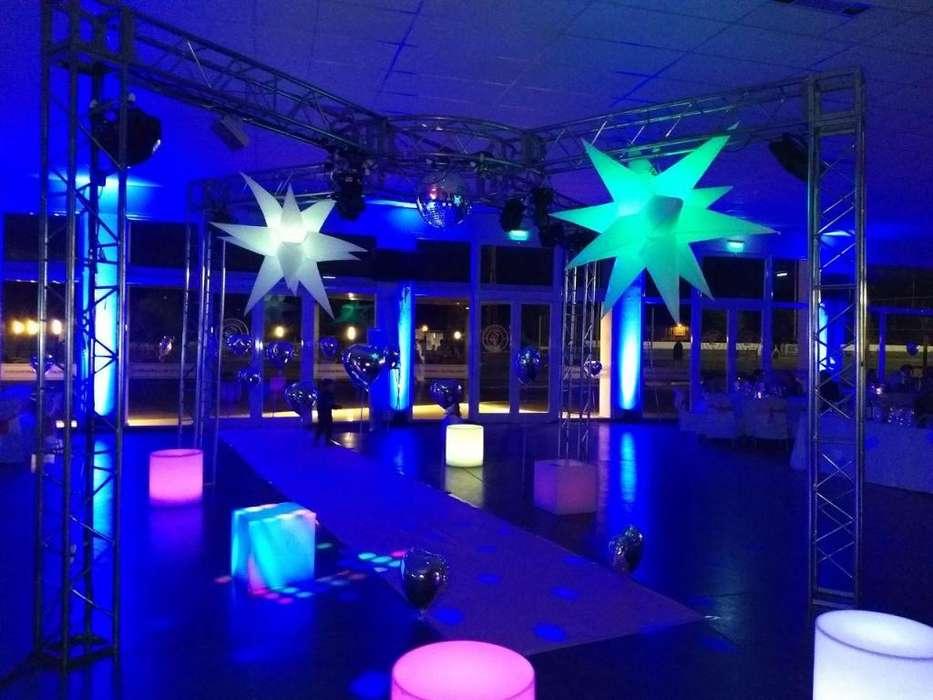 Sonido, iluminacion, ambientación, alquiler de living, pantalla gigante