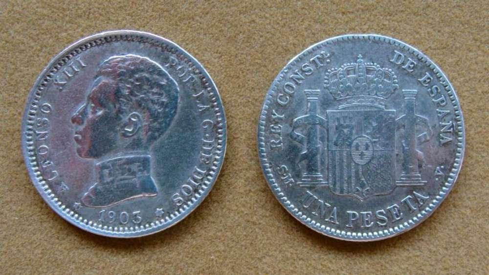 Moneda de 1 peseta de plata, España 1903