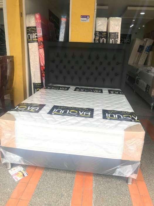 base cama espaldar y colchón semiortopedico