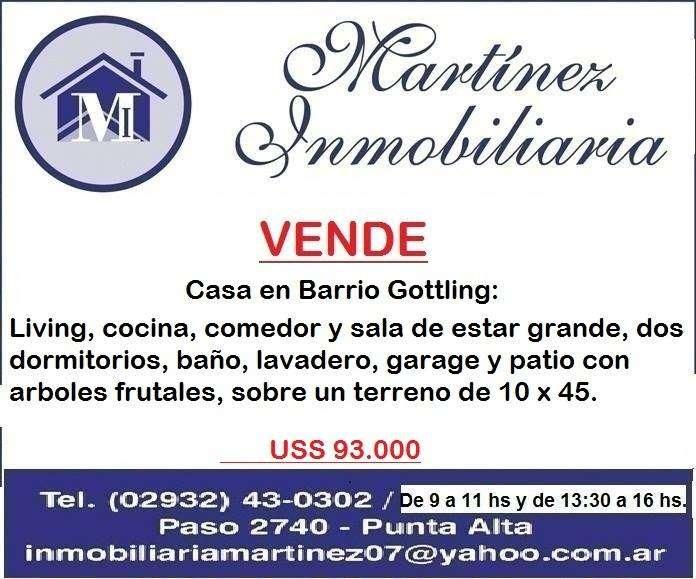 Vendo Casa en Barrio Gottling