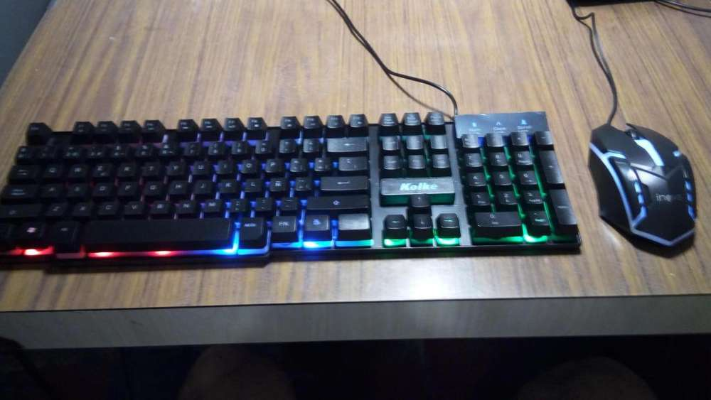 Kits Nuevos teclado Kolke Delta Semi Mecánico Retroiluminado y Mouse Inova LED Gamer