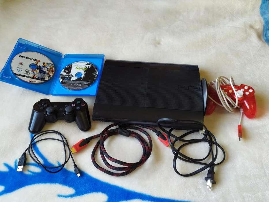 Ps3 Play Station 3 SuperSLIM 750 GB 23 juegos originales 2 fisicos 2 palancas