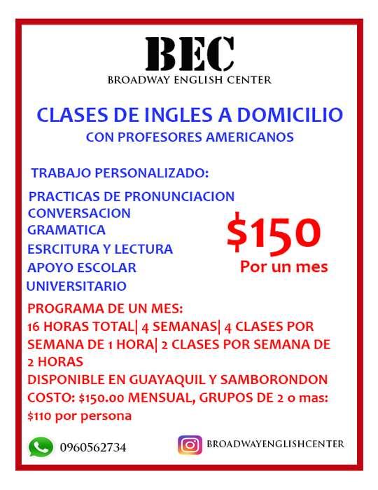 CLASES DE INGLES A DOMICILIO CON PROFESOR AMERICANO