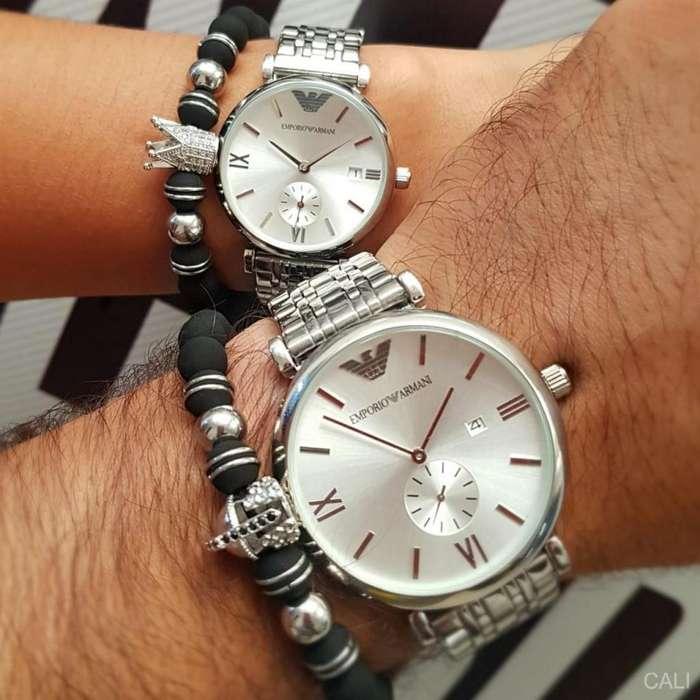Relojes Emporio Armani en color plateado para pareja