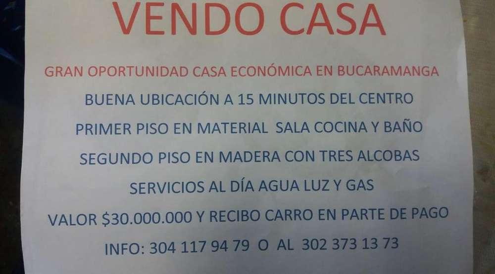 VENDO CASA ECONOMICA A 10 MINS DEL CENTRO. BUCARAMANGA