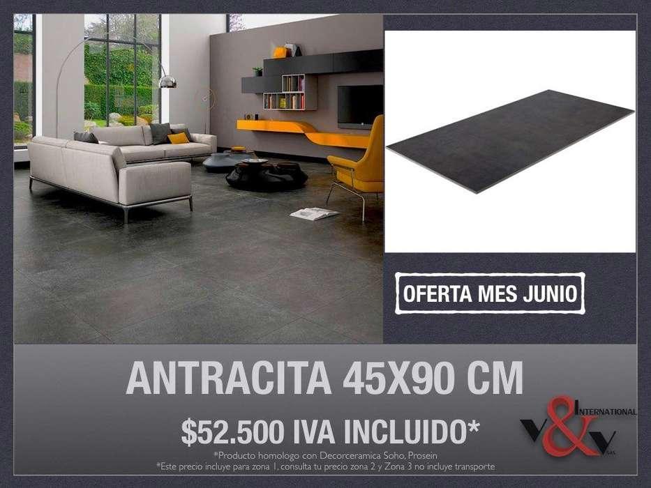 Porcelanato Antracita 45x90