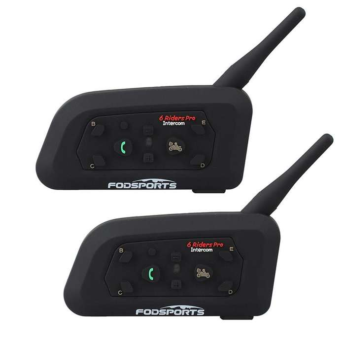 Intercomunicador De Moto Fodsport V6 Bluetooth 1200m Par