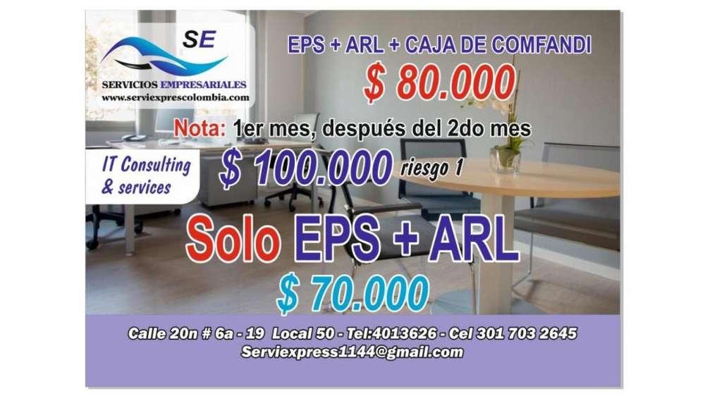 seguridad social EPS, ARL, CAJA COMFANDI por 70.000 o PENSION