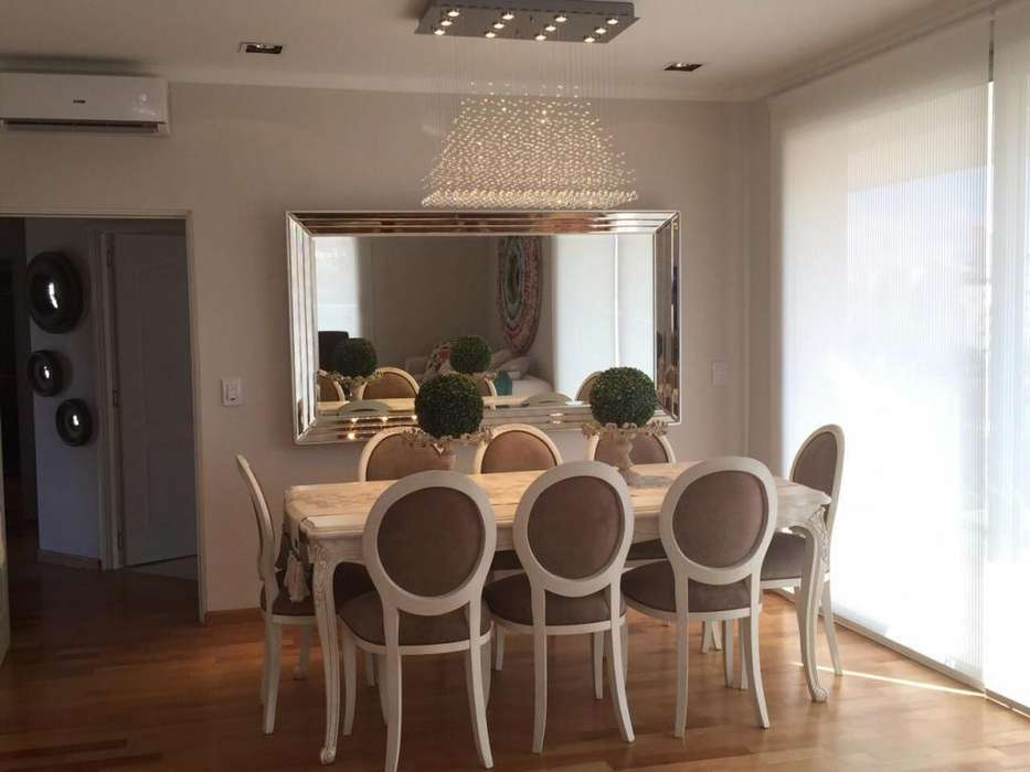 Mesa rectangular 250x100 con 8 <strong>silla</strong>s tapizadas en pana