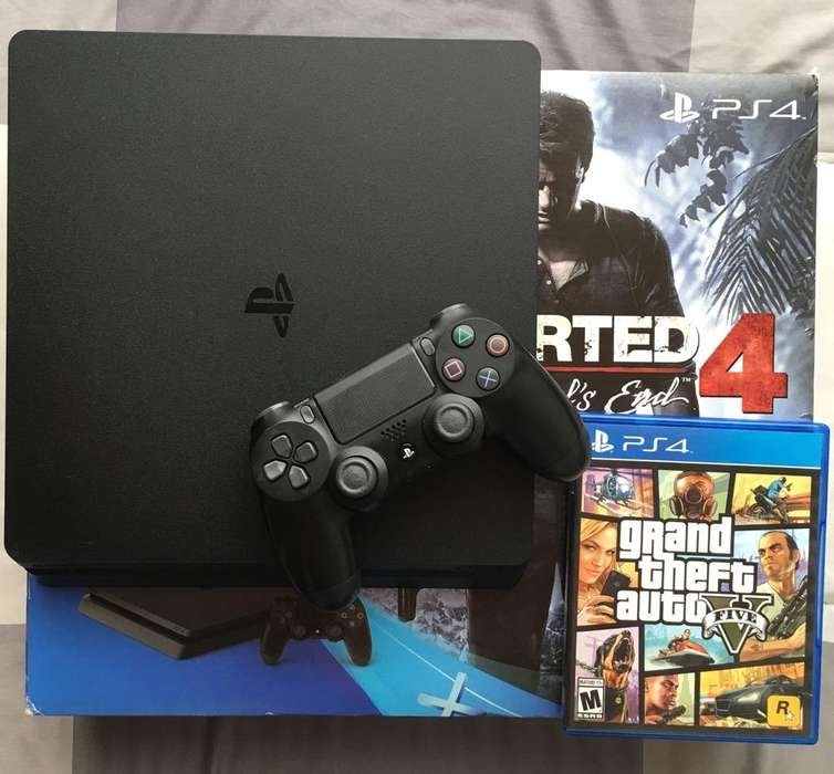 Play Station 4 Slim 500G, Gta V, Ps4