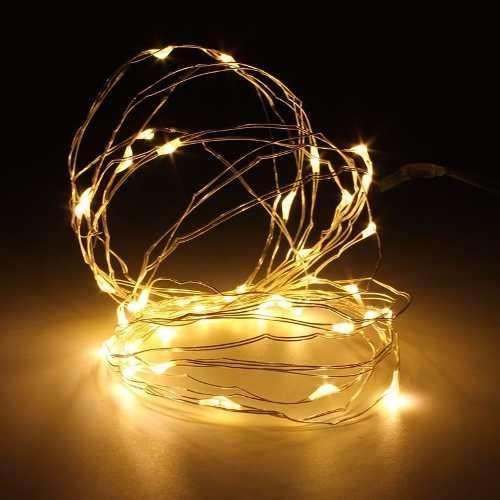 Guirnalda Alambre Luz Micro Led Calida 20 Luces Pilas X 10 U