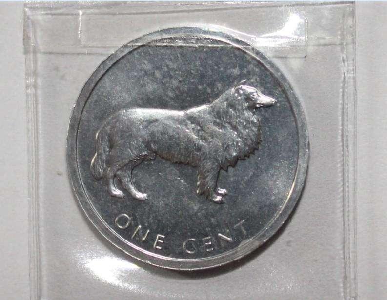 Moneda de Islas Cook, perro collie, 75