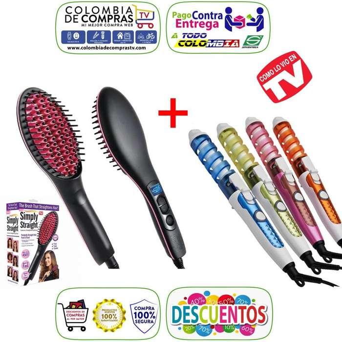 Combo de TV Plancha Cepillo Simply Straight Digital 450ºF Rizador Curl Perfect, Nuevos, Originales, Garantizados...