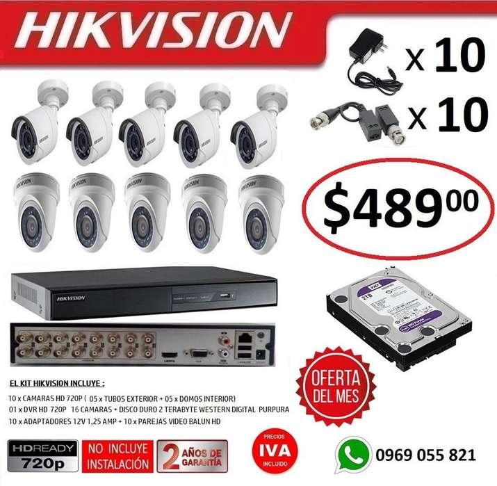 Combo 10 Cámaras Seguridad Vigilancia Hd 720p Hikvision