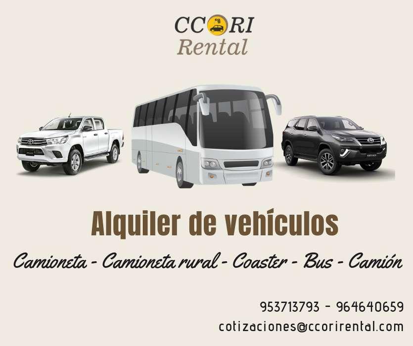 Ccori Rental/ alquiler de camionetas 4x4, minivan, coaster, bus, camiones y maquinaria pesada
