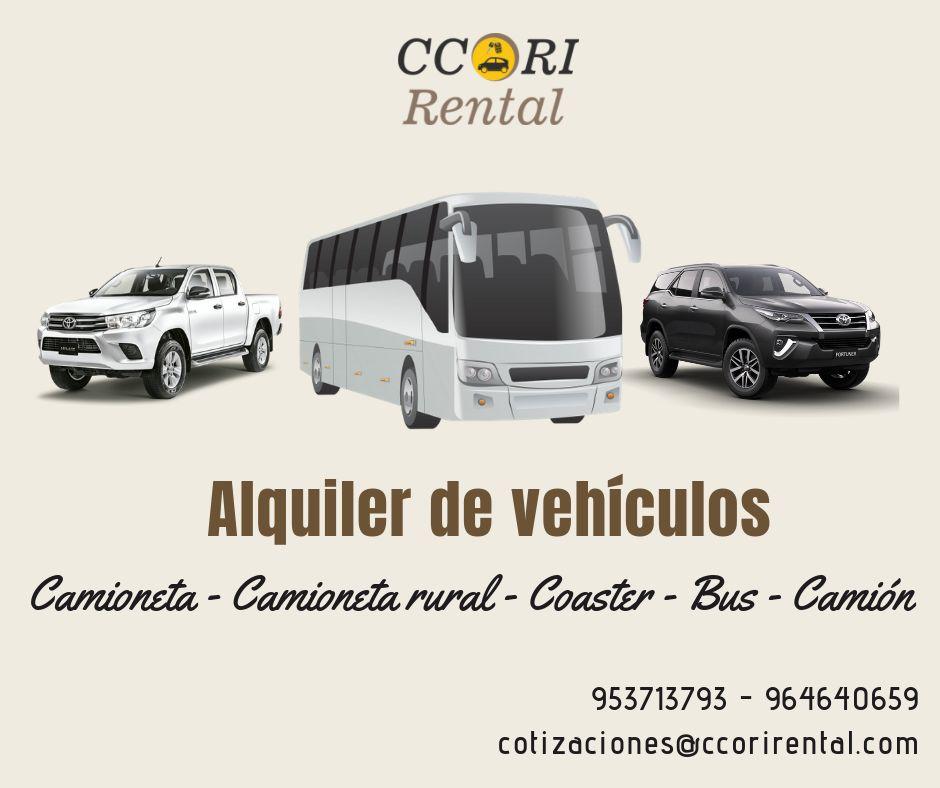 Ccori Rental/ alquiler de camionetas 4x4, minivan, coaster, bus, camiones AYACUCHO PASCO HUANCAYO