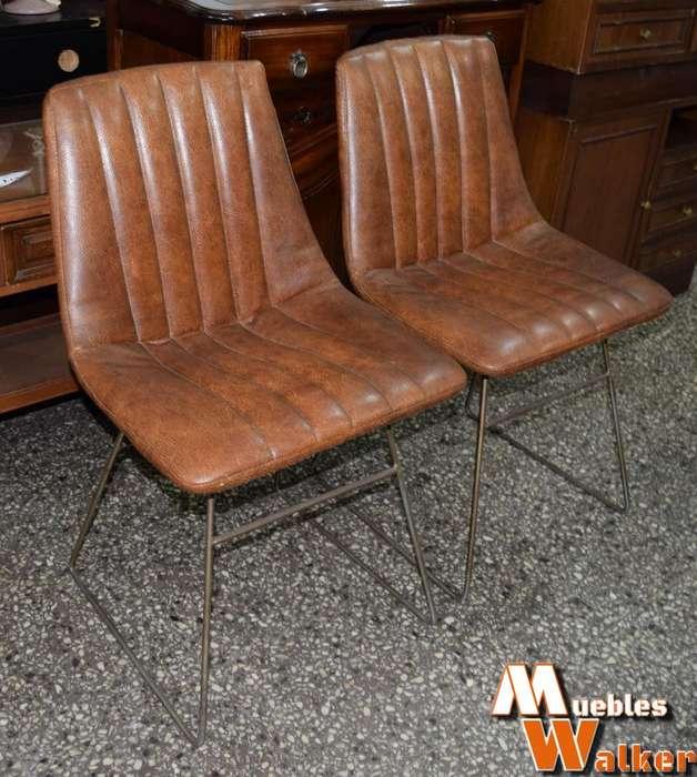 2 <strong>sillas</strong> antiguas con tapizado de cuerina