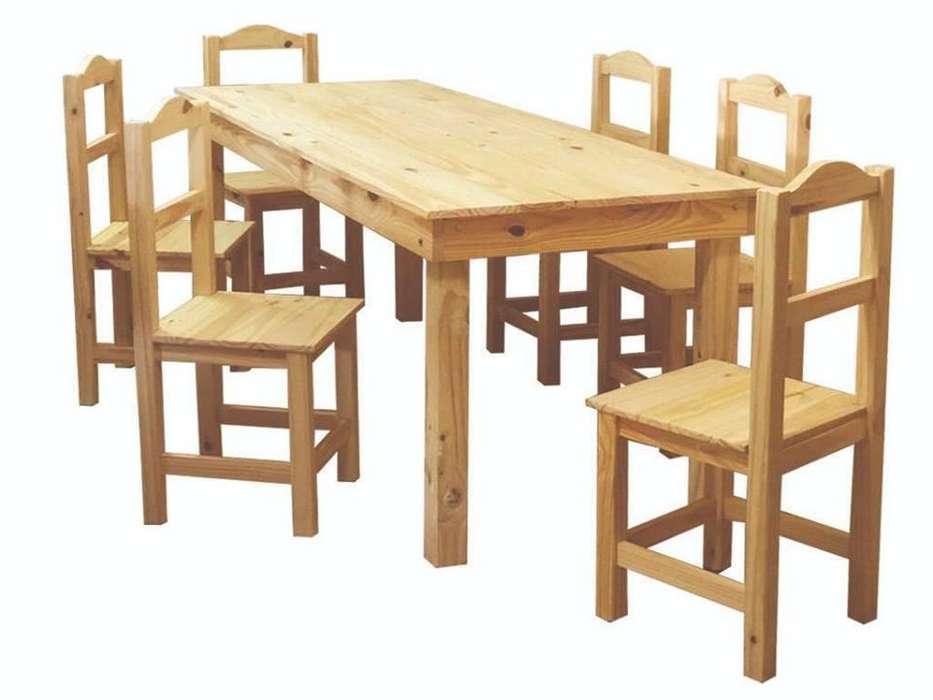 mesa de pino 140x80 6 sillas arco