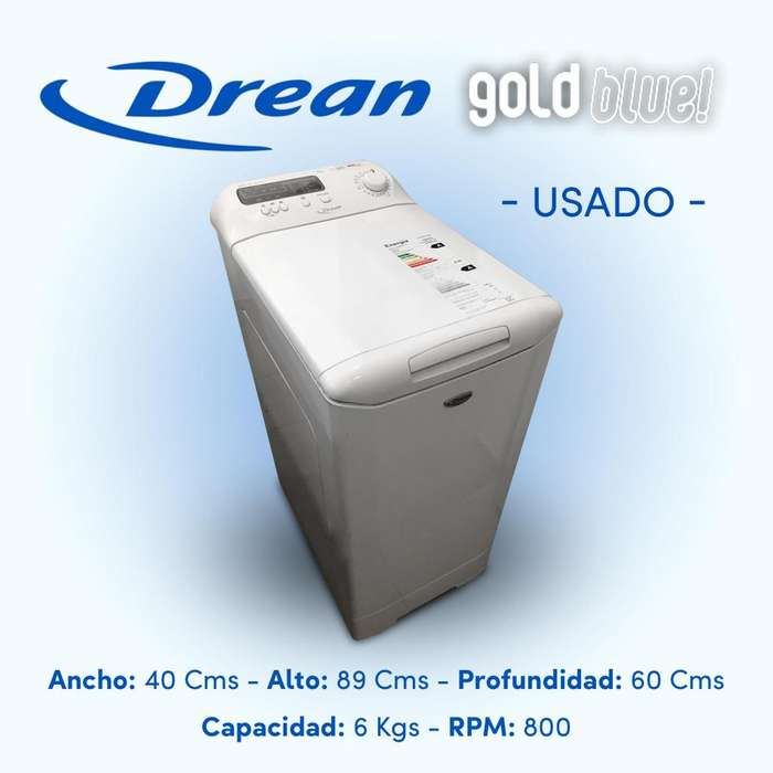 Lavarropas Drean - Carga Superior - Gold Blue 8.6 6kg 800rpm