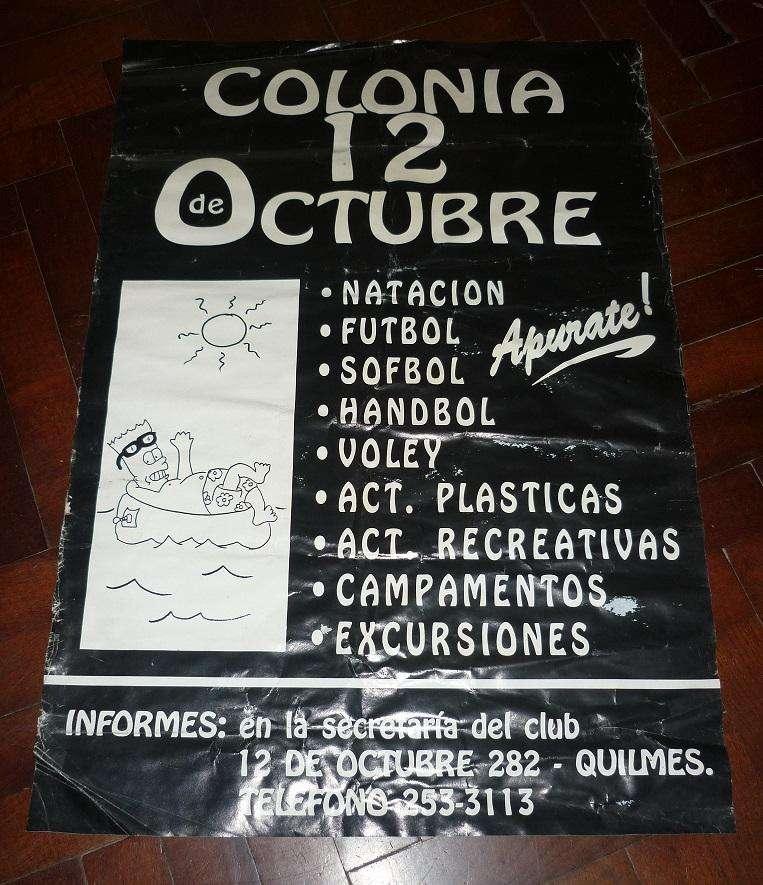 ANTIGUO AFICHE DE CALLE CLUB 12 DE OCTUBRE QUILMES PROMOCION COLONIA DE VACACIONES 1995 BART SIMPSON