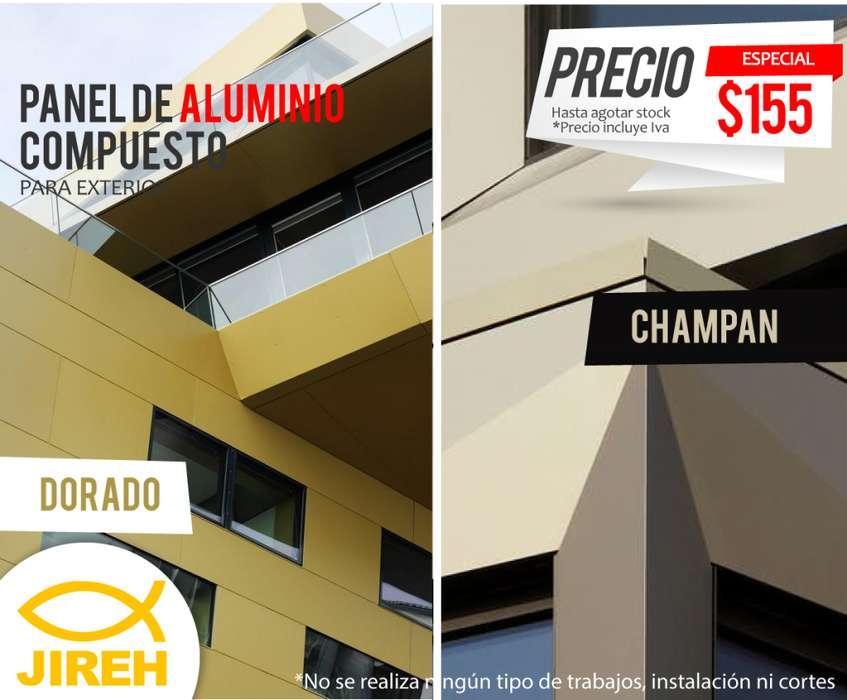 Alucobond Panel de Aluminio Dorado Exterior, Policarbonato, Alucobond, Acrílico, Cielo raso pvc, fachadas