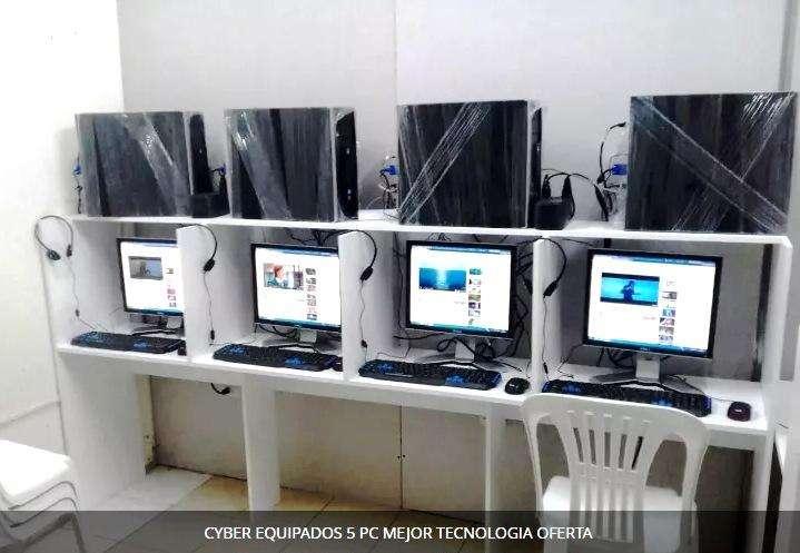 CYBER EQUIPADOS 5 PC MEJOR TECNOLOGIA MARCA HP, DELL AMERICANAS