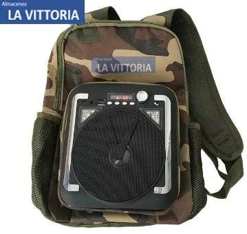 Mochila Parlante Bluetooth Radio Fm Usb Micro Sd Con Luz Ideal para Camping