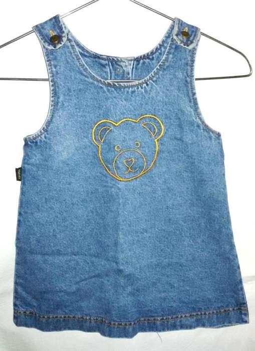 Vestido de jean infantil bordado