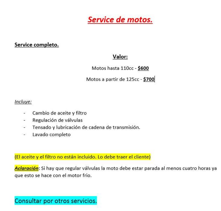 Service de motos de todas las marcas