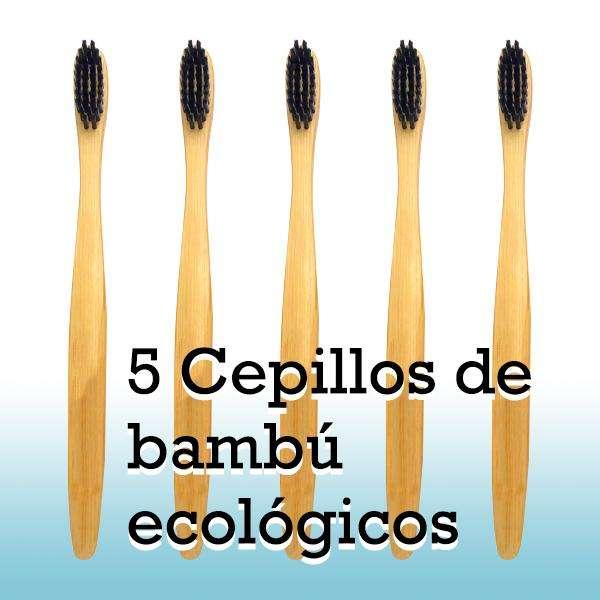 5 cepillos de dientes de bambú ecológicos, 100% madera biodegradable para cuidado dental