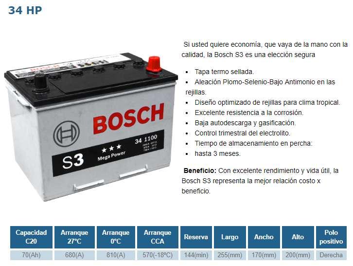 MILAGRO BATERIA BOSCH 34 HP S4 NUEVA PARA CAMIONETAS - NUEVA POR 105 INCLUYE IVA