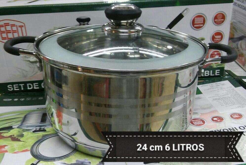 olla 24 cm 6 litros cocinas induccion , gas , electricas 7 capas